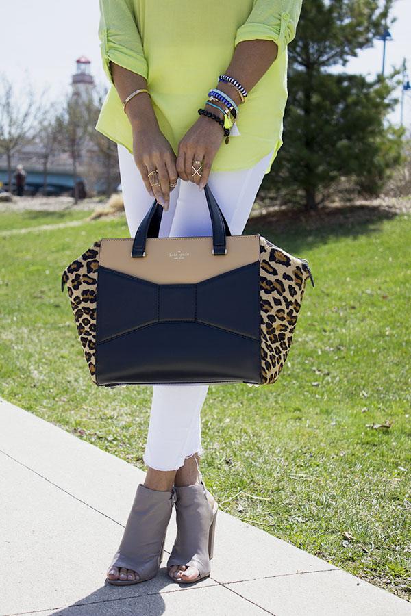 Kate Spade leopard bow bag