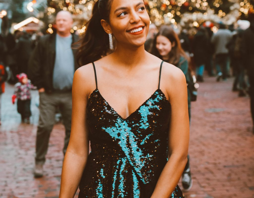 fashion blogger wears Parker NYC sequins top at the toronto Christmas market