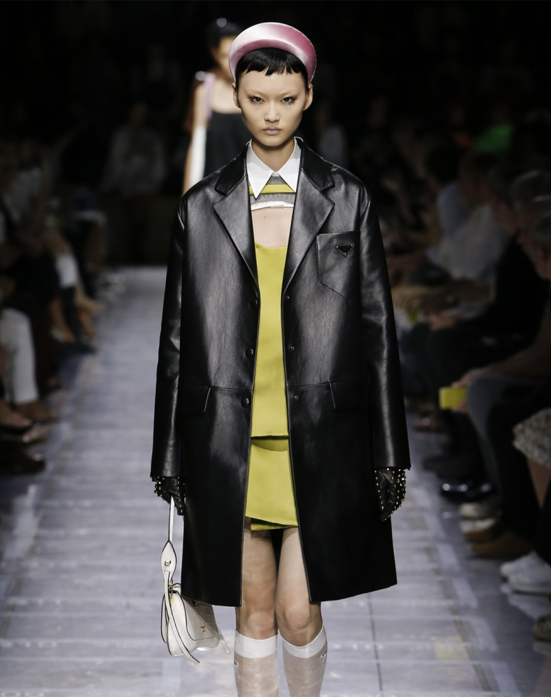 Prada spring summer runway look with padded headband
