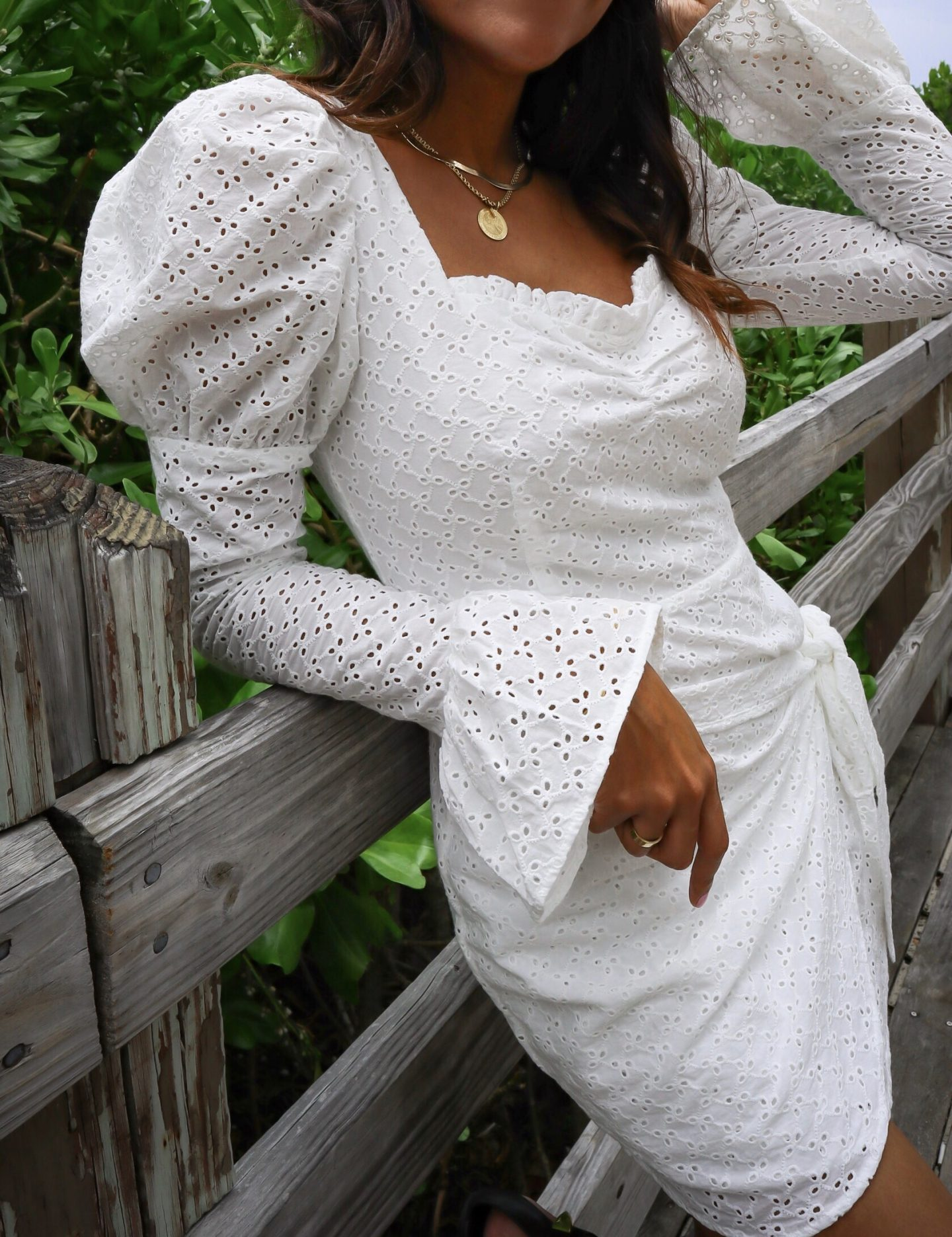eggie white puff sleeve dress