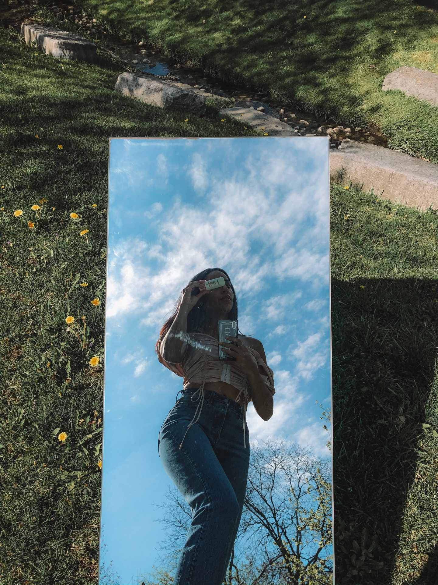 mirror selfie in a garden