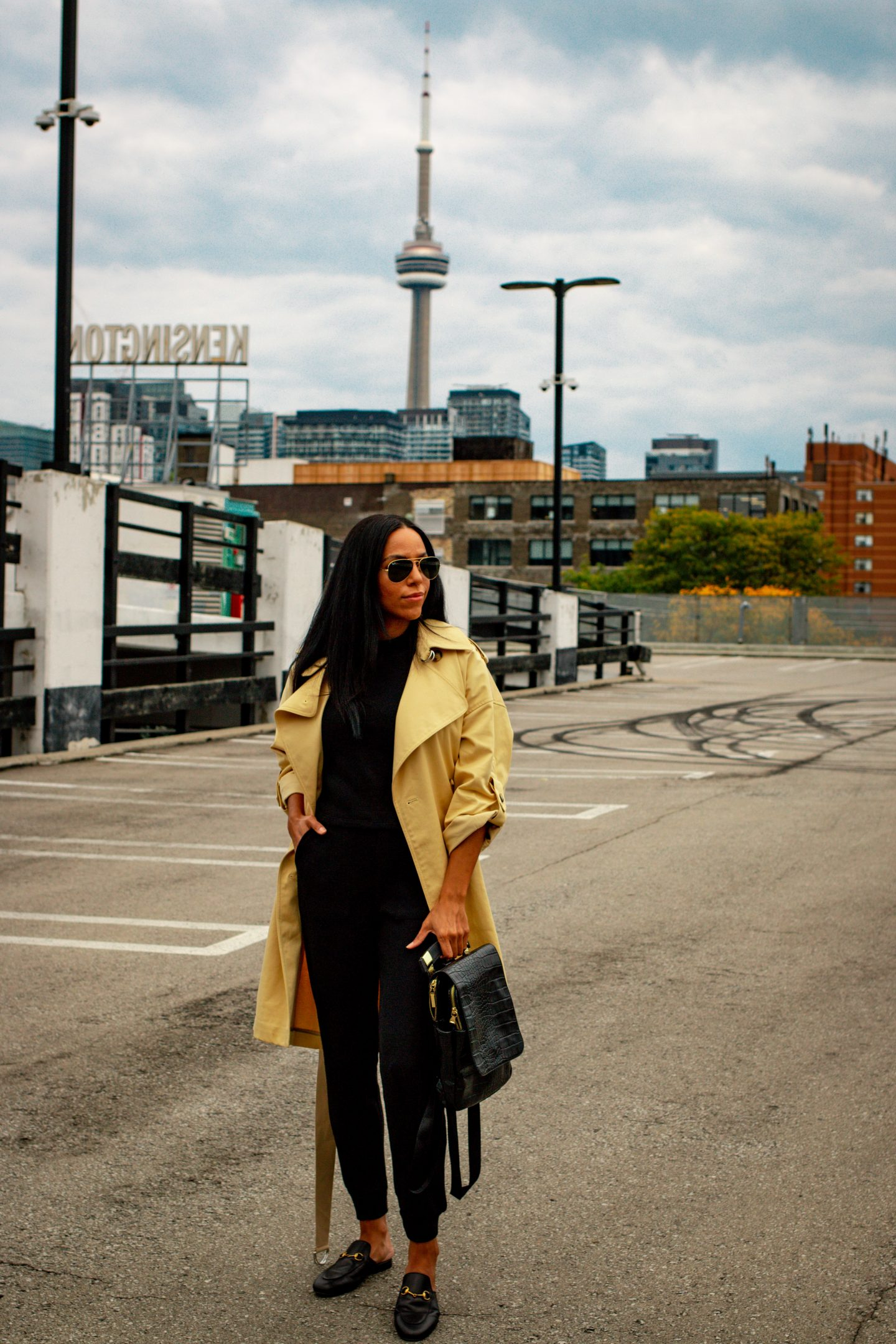 blogger Britney Wilson in a club monaco trench coat
