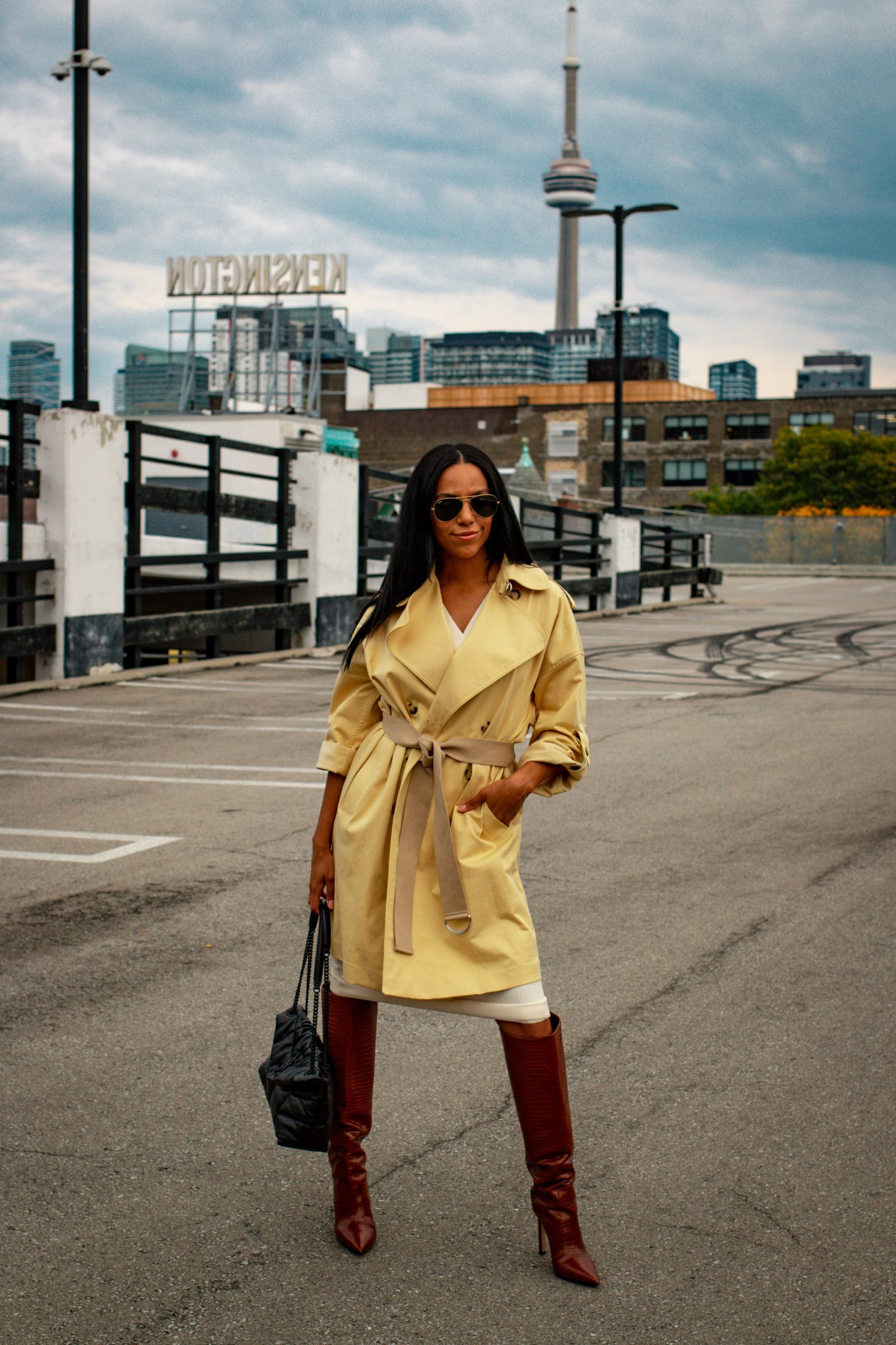 trench coat styled for a fall look