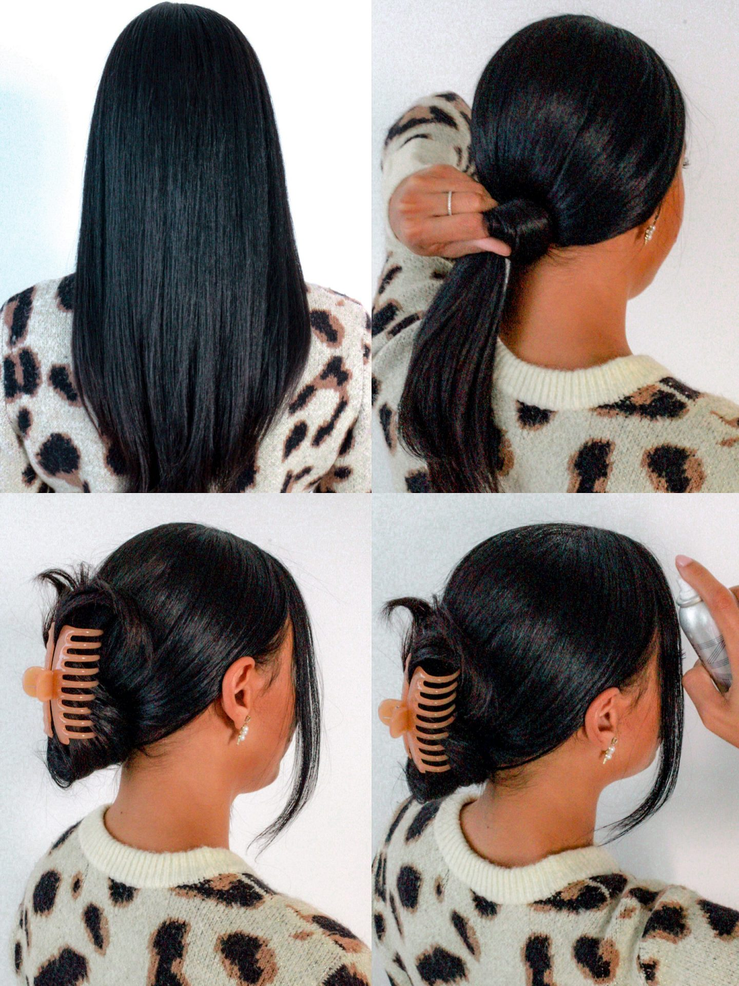 claw clip hair style steps