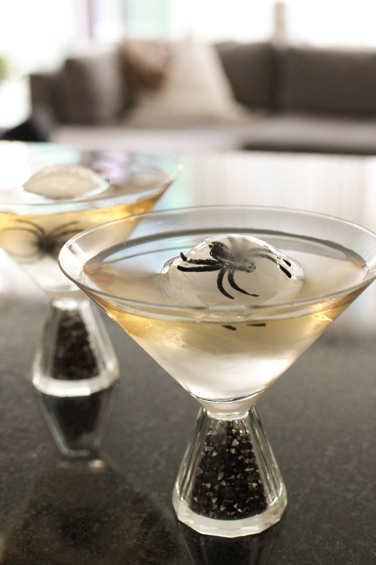 dirty martini with halloween inspired ice cube