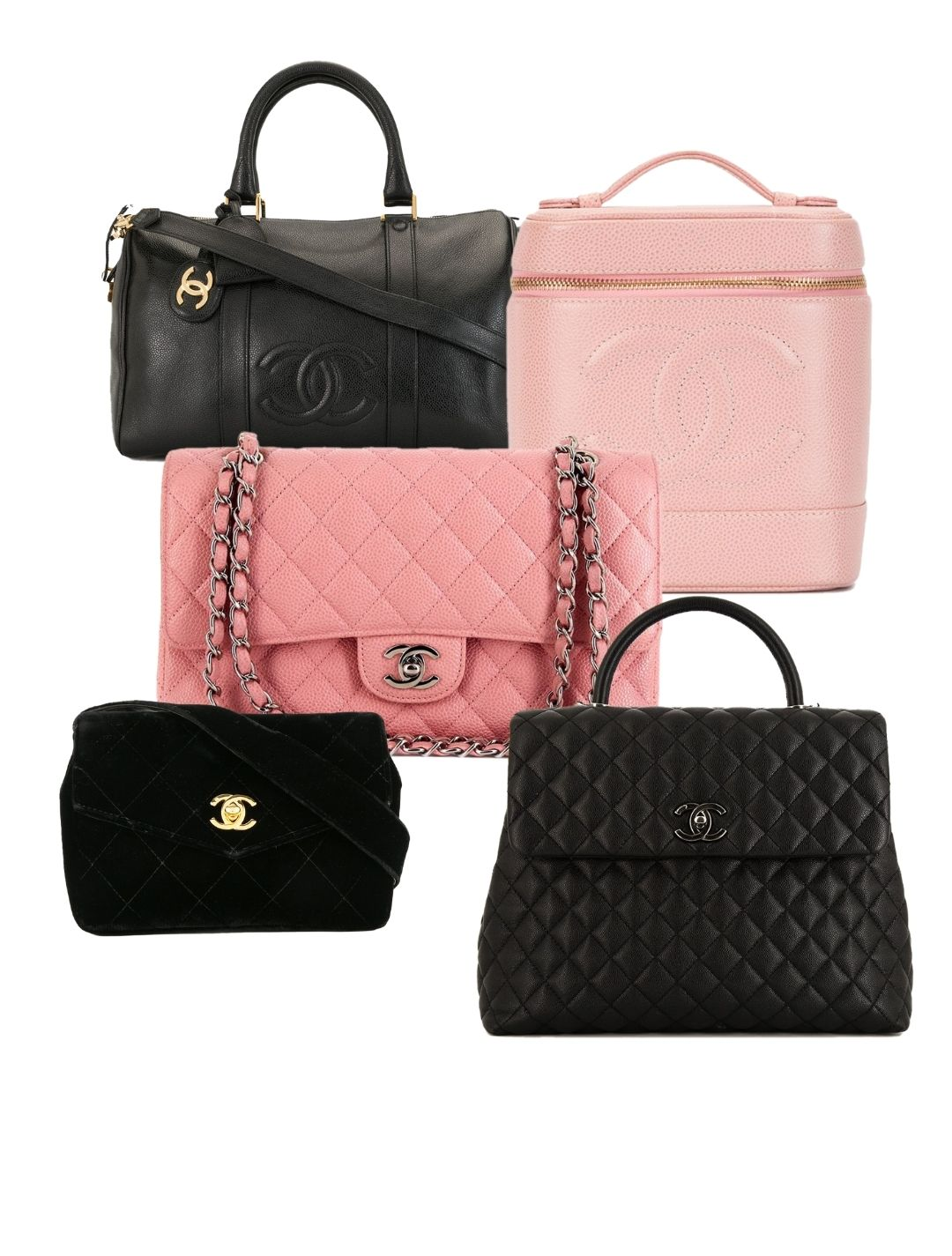 pink and black chanel handbags