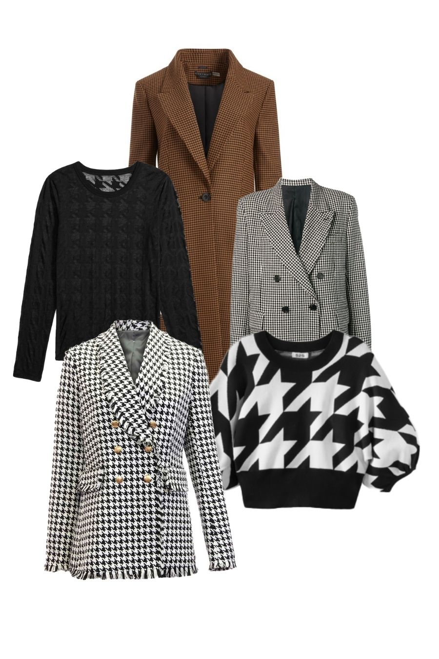 houndstooth and gingham print fashion pieces