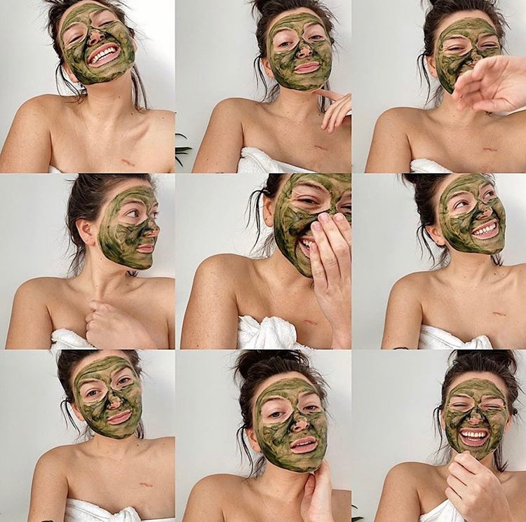 collage of green face mask selfies