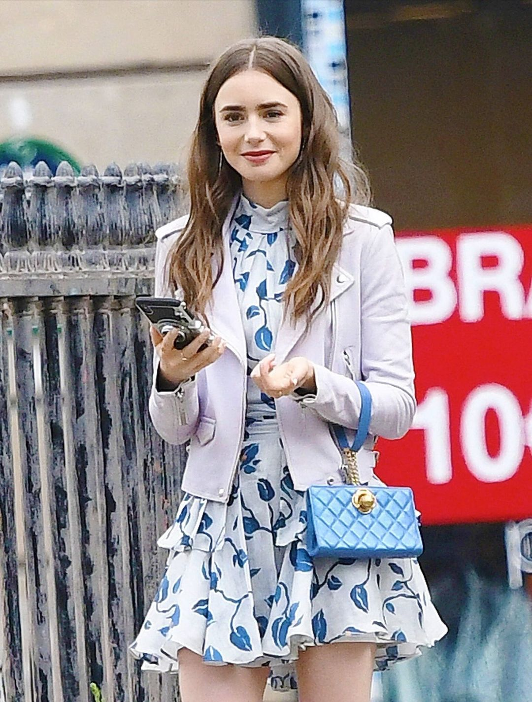Lily Collins on set of Emily in paris