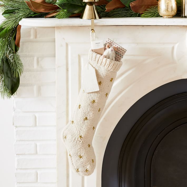west elm stockings with embroidered gold stars