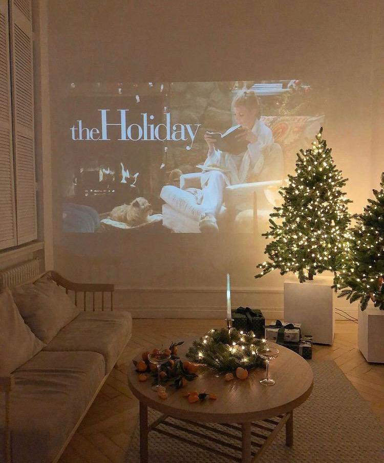 holiday movie night set up
