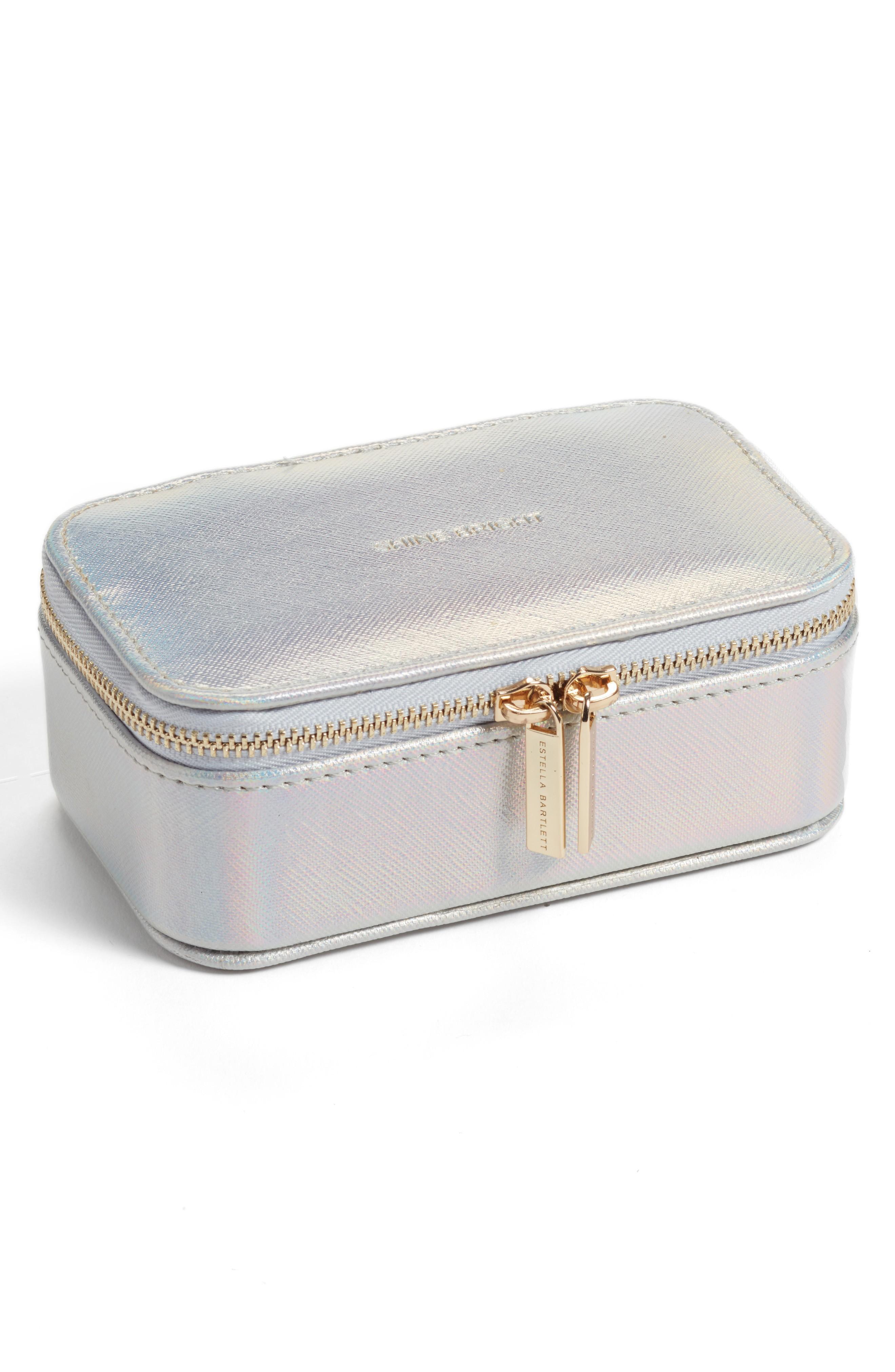 iridescent mini travel jewelry case