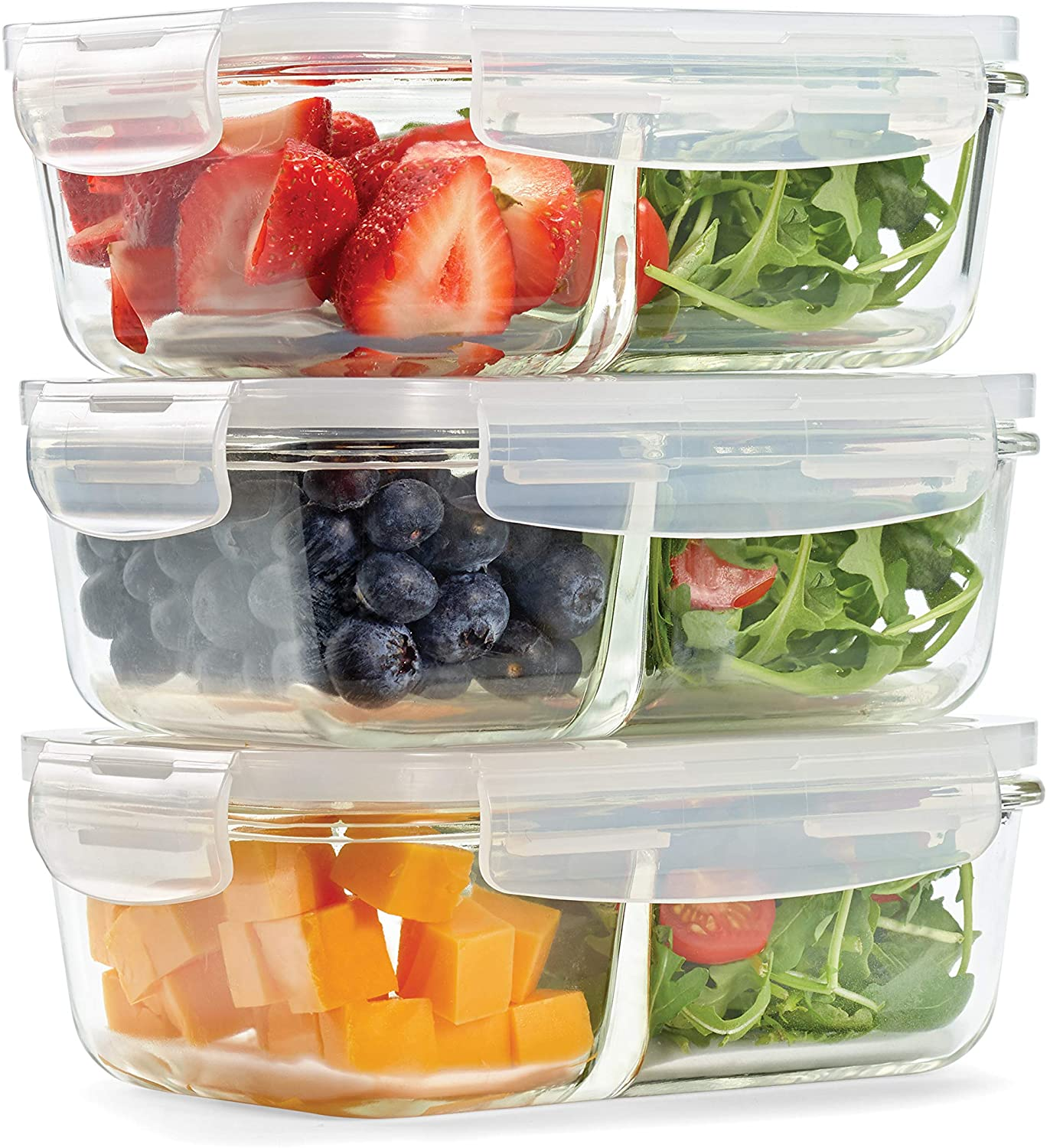 divided glass food storage containers with latch lid