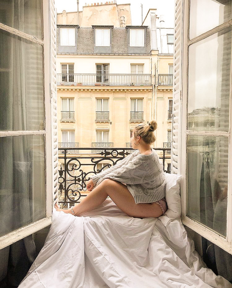 Girl Looking Out Paris Window