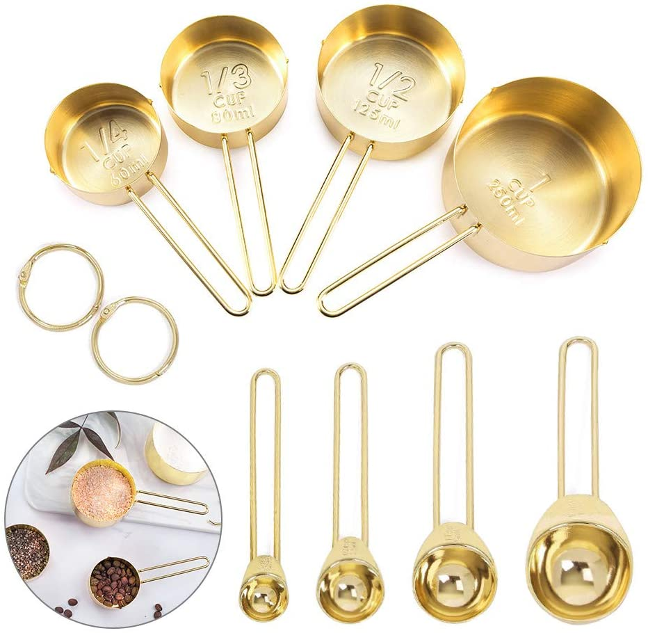 8 piece gold measuring spoons and cups set
