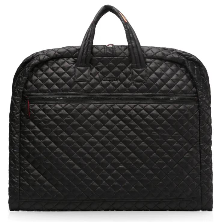 black quilted nylon garment bag