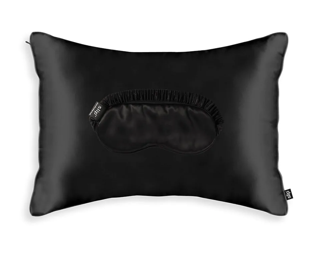 black satin pillow case and mask travel set