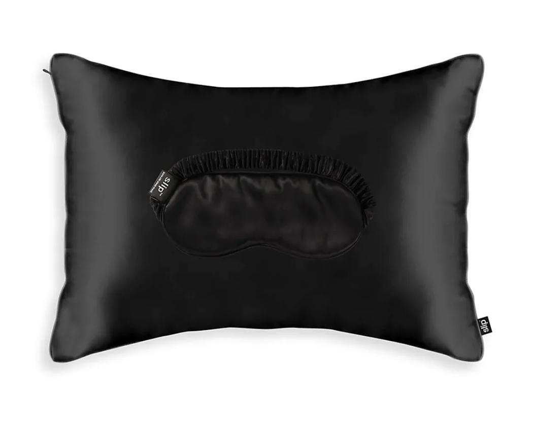 black satin pillow case and mask travel set