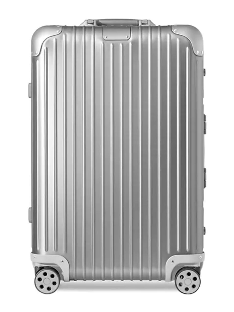 silver medium size suitcase