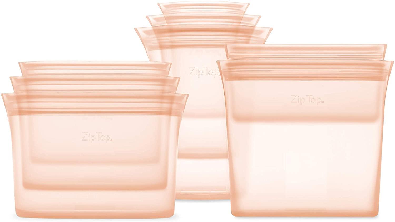 pink reusable zip top food storage bags