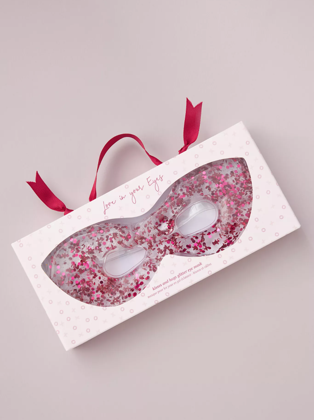 glitter gel eye mask filled with glitter