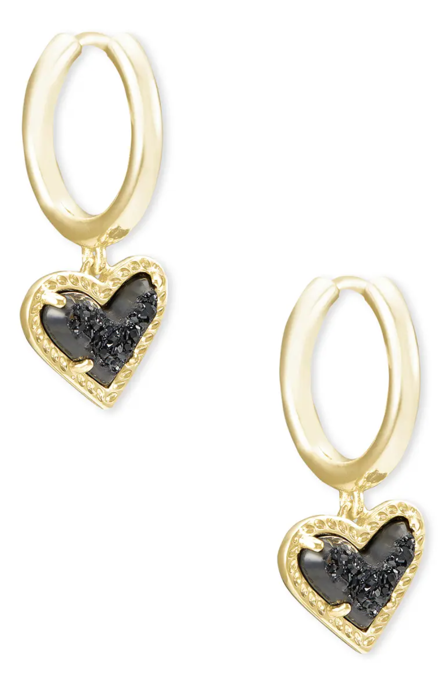 gold huggie hoop earrings with black heart stones