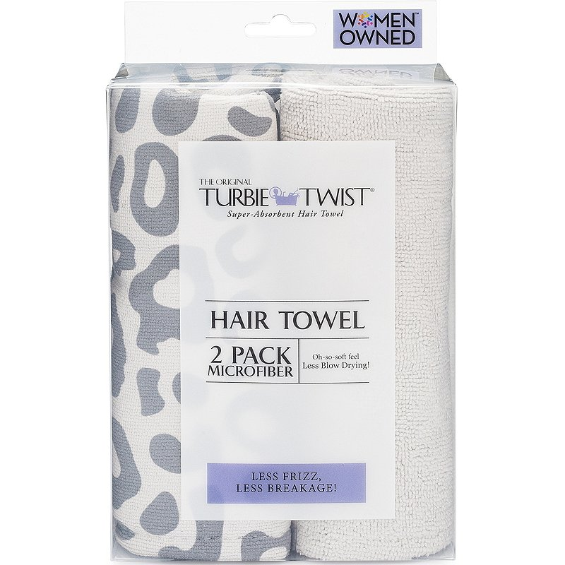 two pack of turbie twist hair towels in leopard print and white