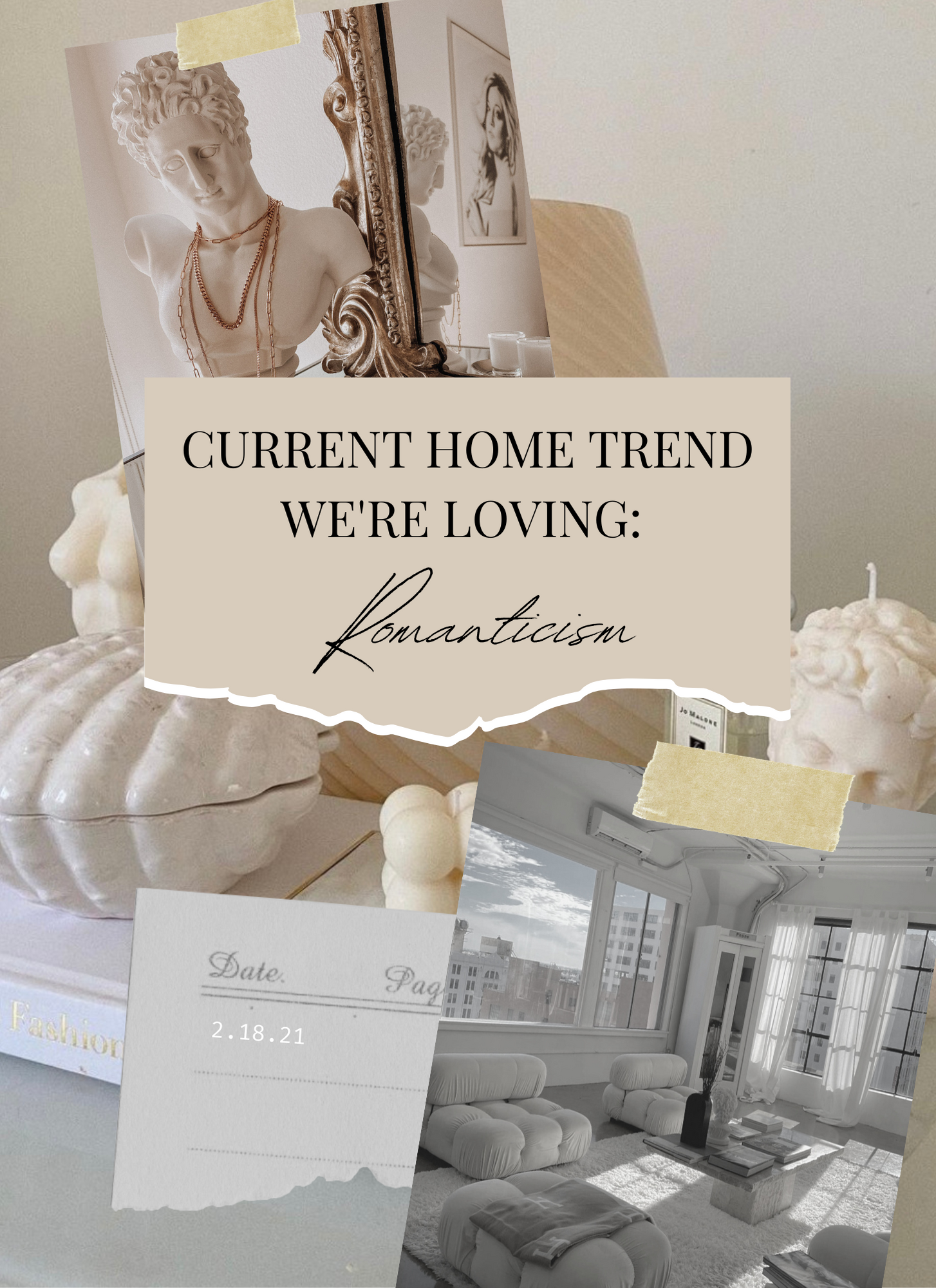 home decor collage with bust and candles