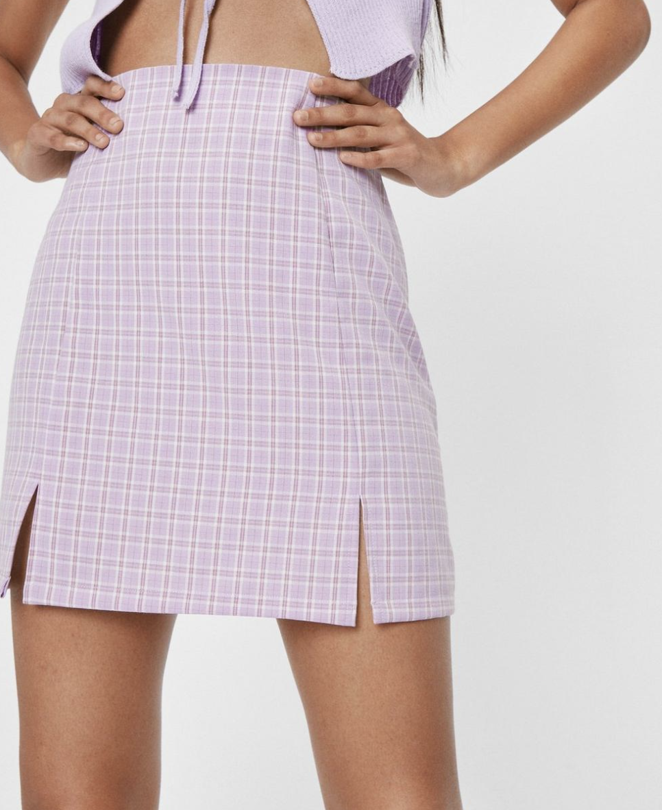 High wasited check slit mini skirt