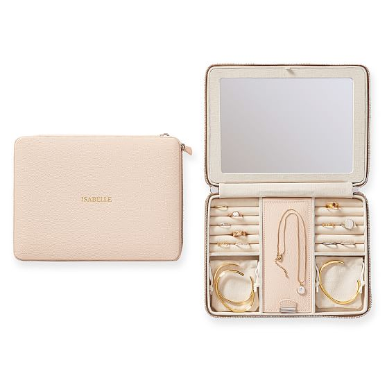 pink travel jewelry case with mirror