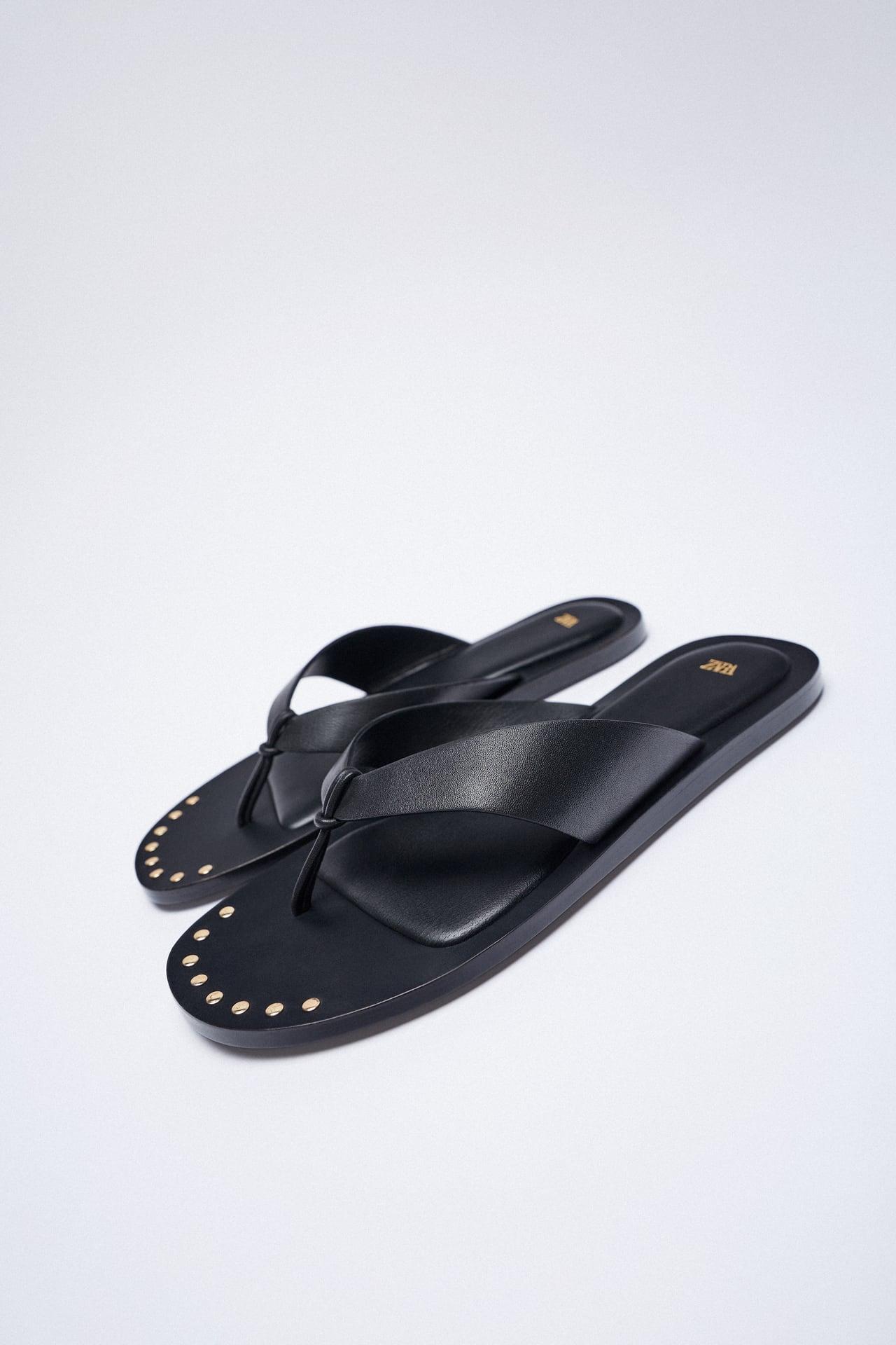 zara black leather sandals