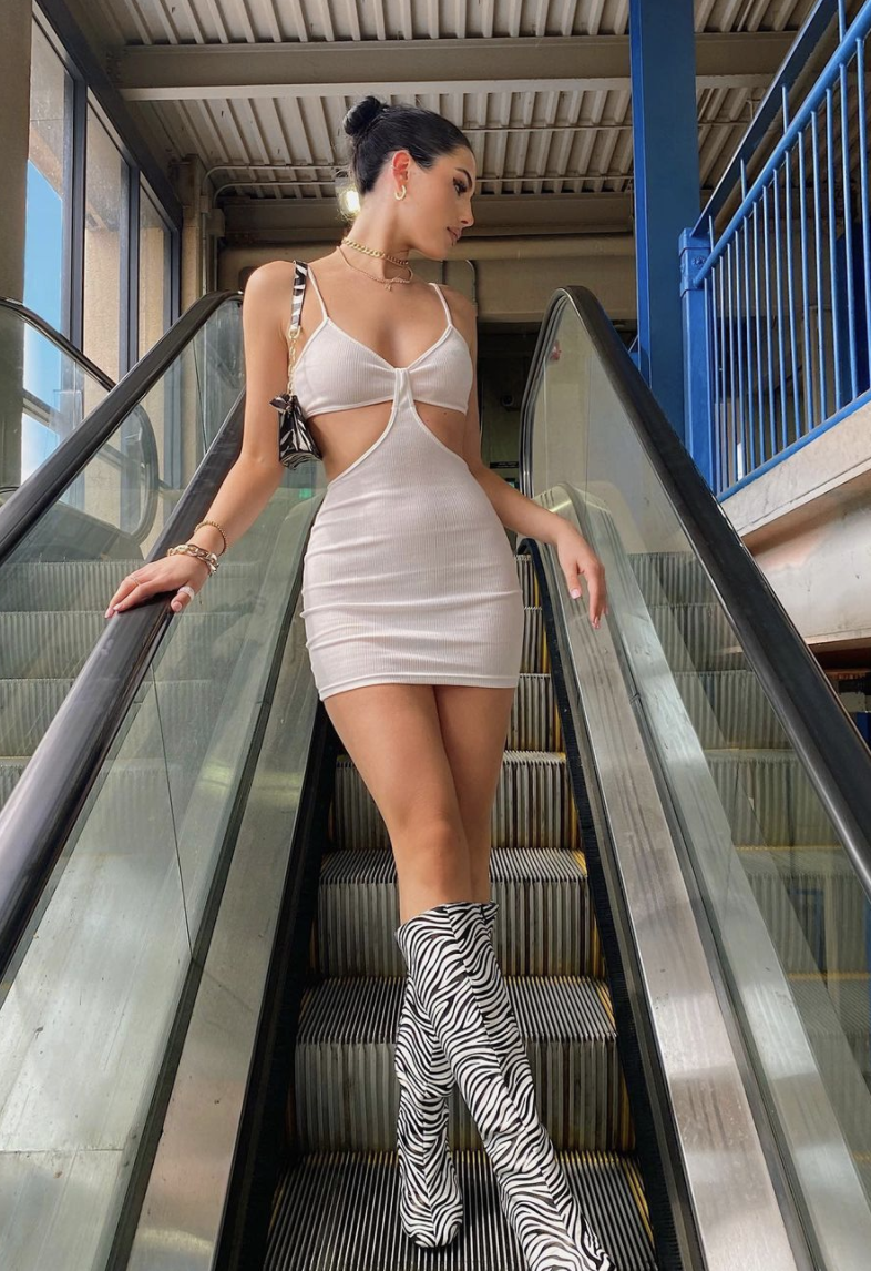 white dress with cut outs
