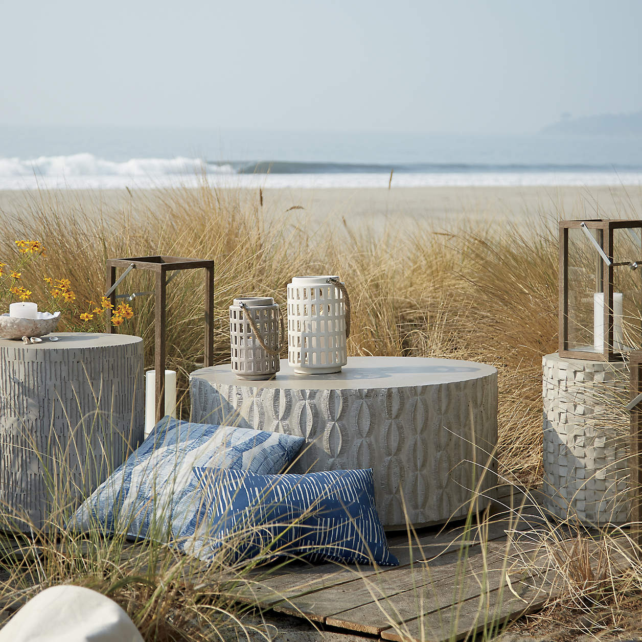 crosby grey teak lanterns
