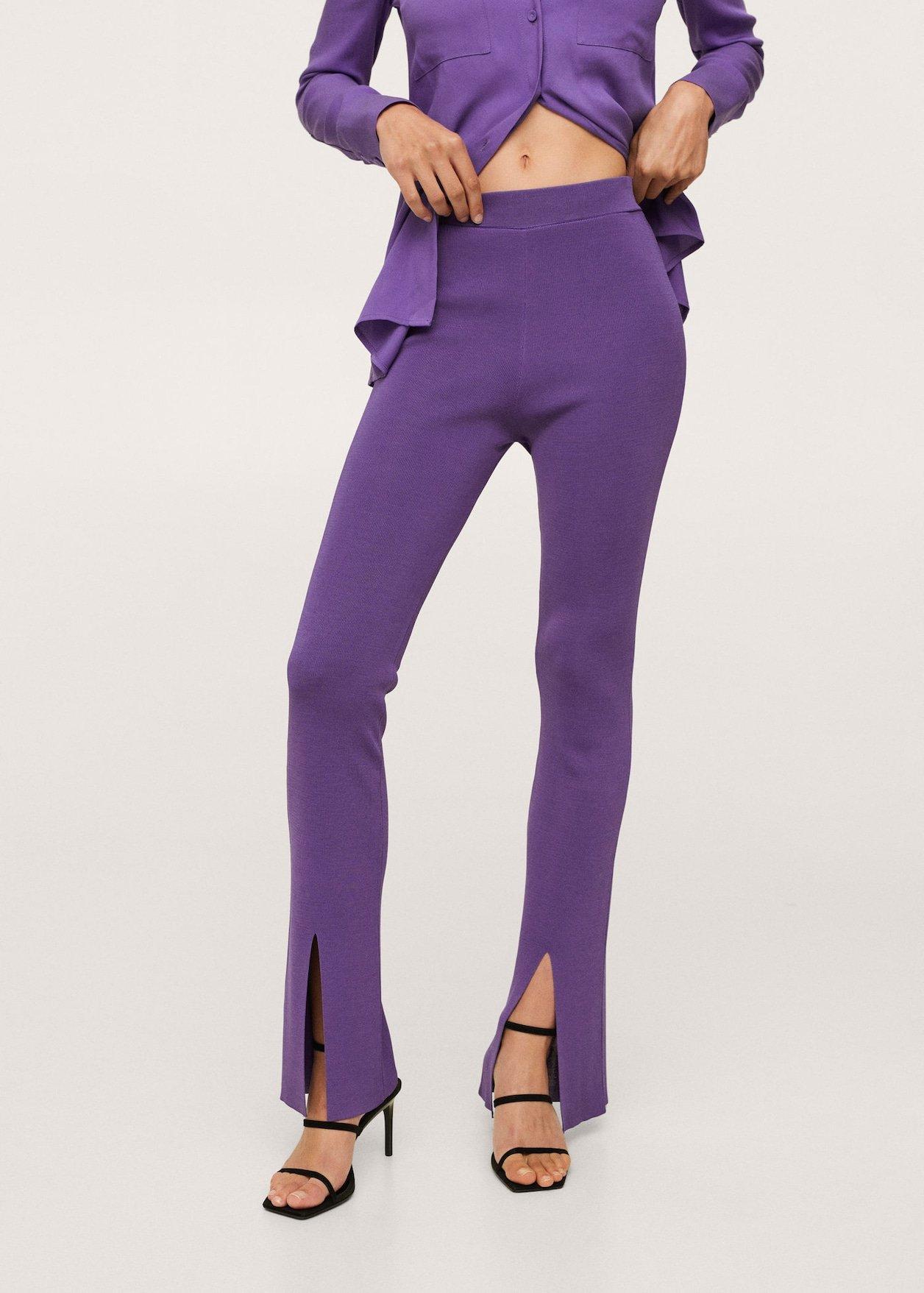 side slit knit trousers